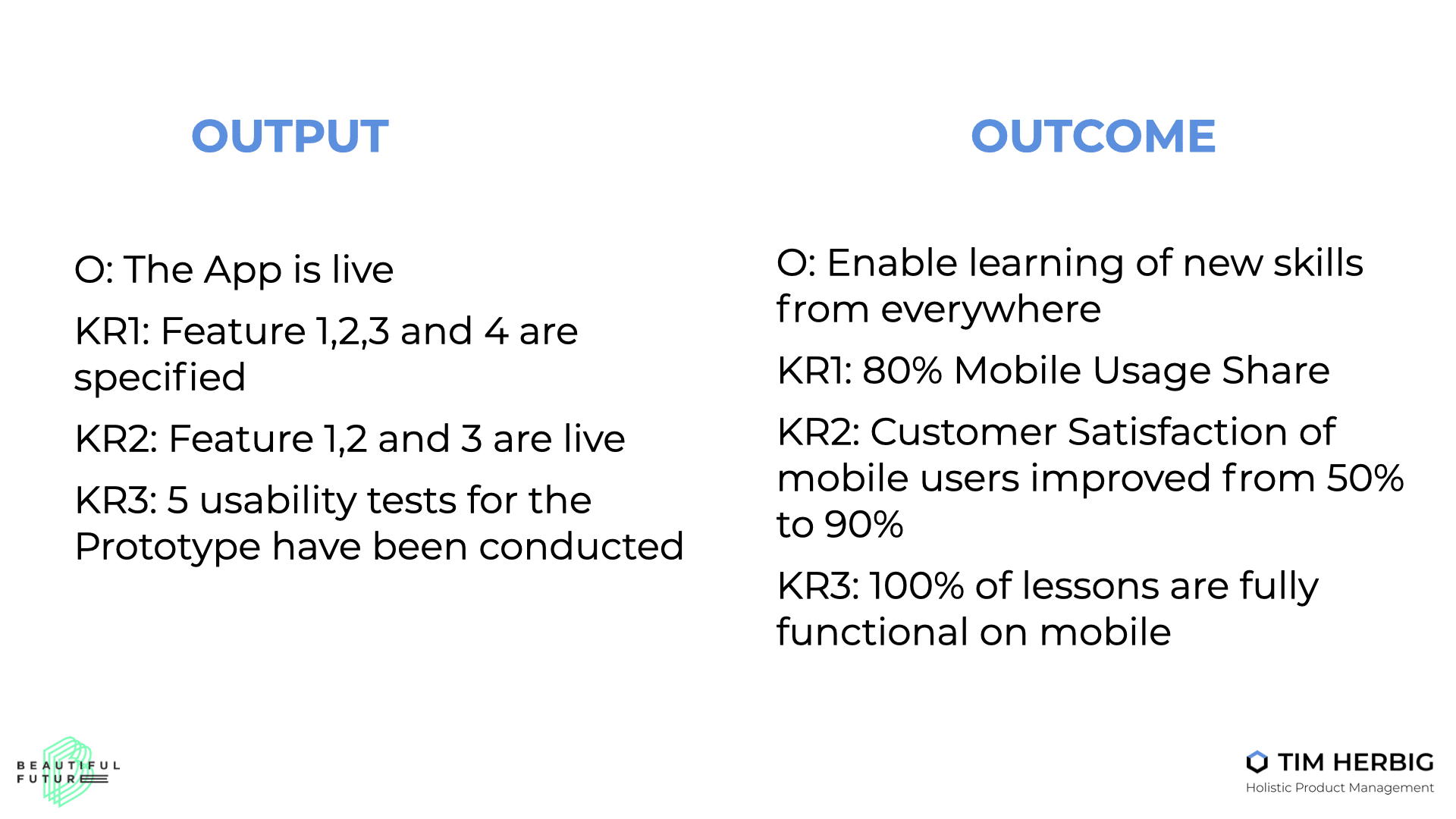 Outcome and Output Product Goals OKR Comparison