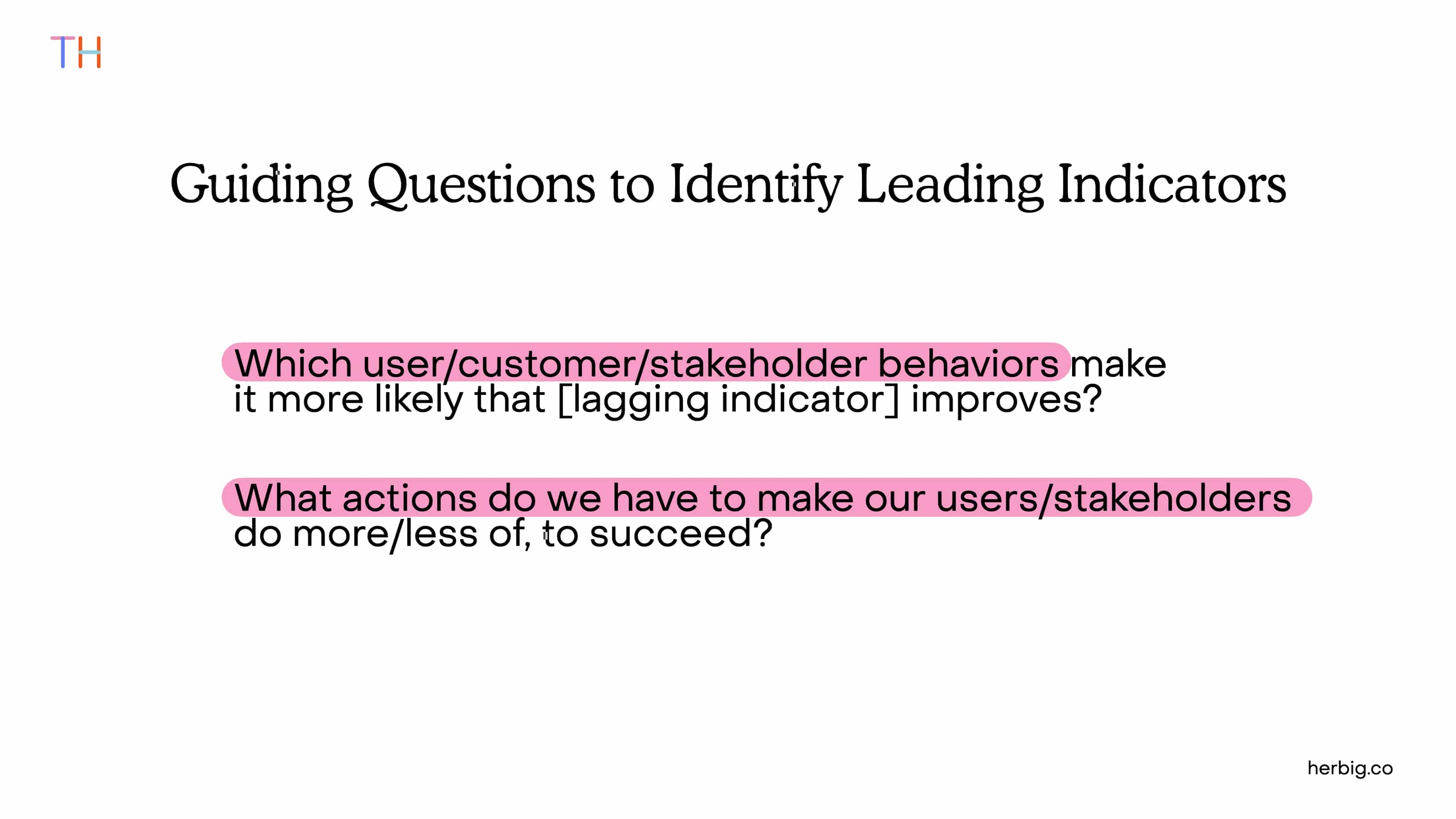 Leading and Lagging Indicators Guiding Questions