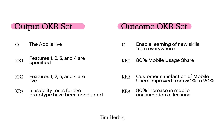 Product Management Outcome vs Output OKR Set Comparison